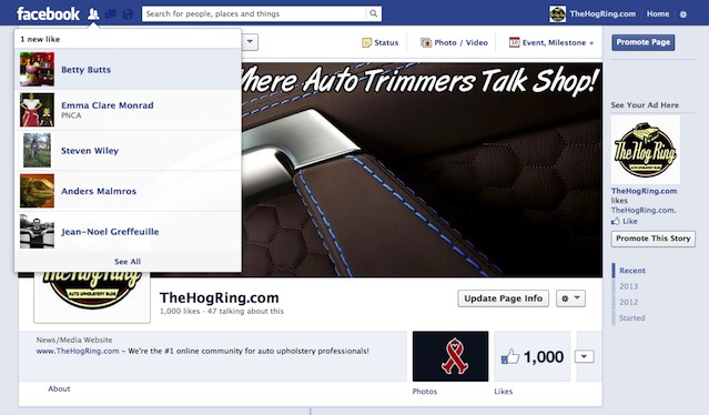 Auto Upholstery - The Hog Ring -  Facebook Fans