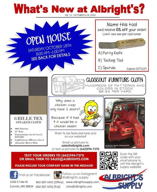Auto Upholstery - The Hog Ring - Albright's Supply - October 2014 Newsletter