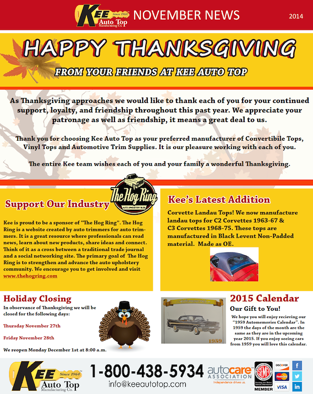 Auto Upholstery - The Hog Ring - Kee Auto Top - November 2014 Newsletter