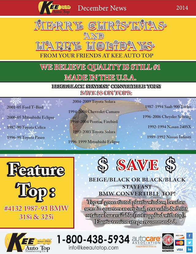 Auto Upholstery - The Hog Ring - Kee Auto Top - December 2014 Newsletter