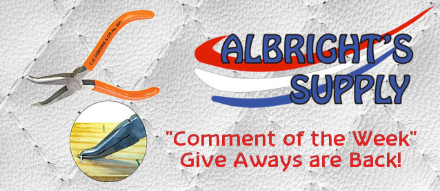 Auto Upholstery - The Hog Ring - Albrights Supply - Comment of the Week