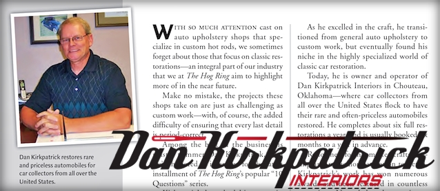 Auto Upholstery - The Hog Ring - Dan Kirkpatrick Interiors