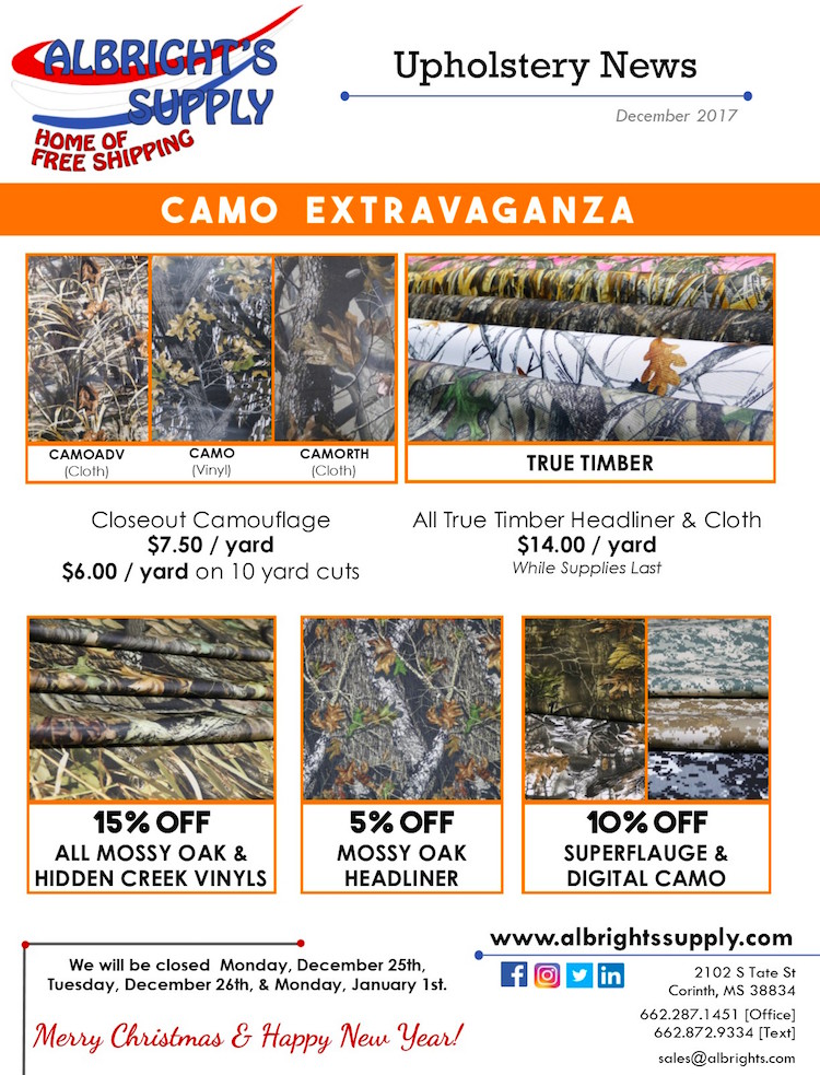 Camo Fabric Is On Sale At Albright S Supply The Hog Ring