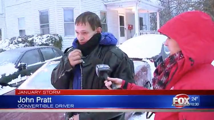 Man Drives Top Down Through a Blizzard
