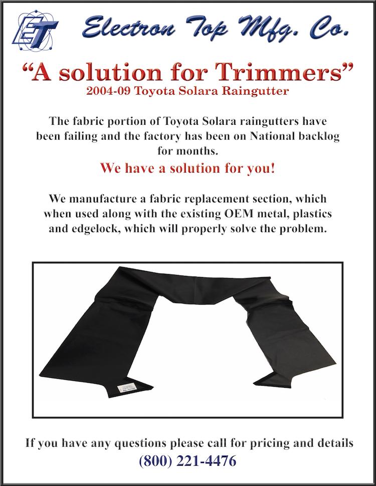 The Hog Ring - Need to Repair Toyota Solara Rain Gutters