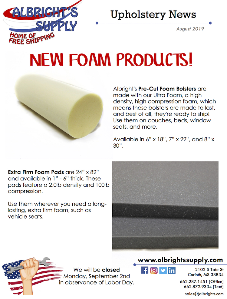 The Hog Ring - Albright's Supply Has New Foam Products