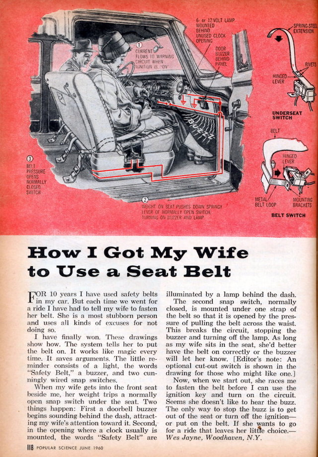 Auto Upholstery - The Hog Ring - Popular Science - Wes Jayne Seat Belt Alarm