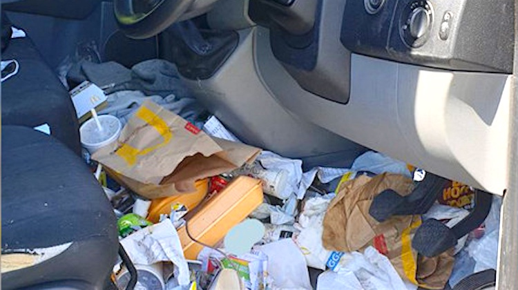 Driver Fined for Having a Dirty Car Interior