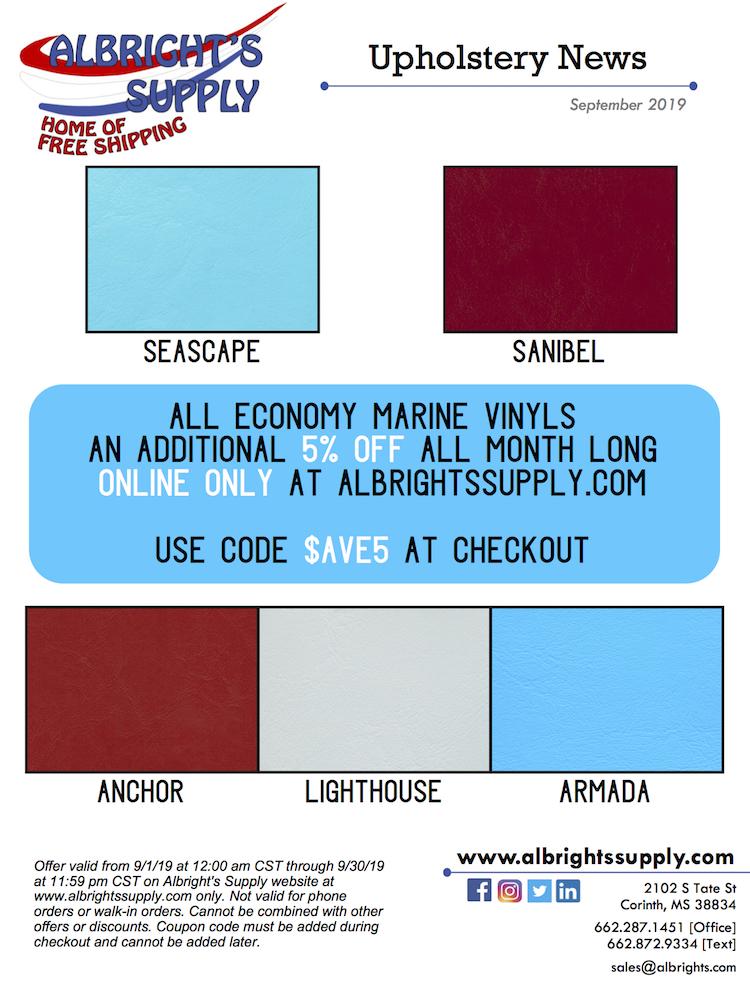 The Hog Ring - Albrights Supply Has Marine Vinyl on Sale