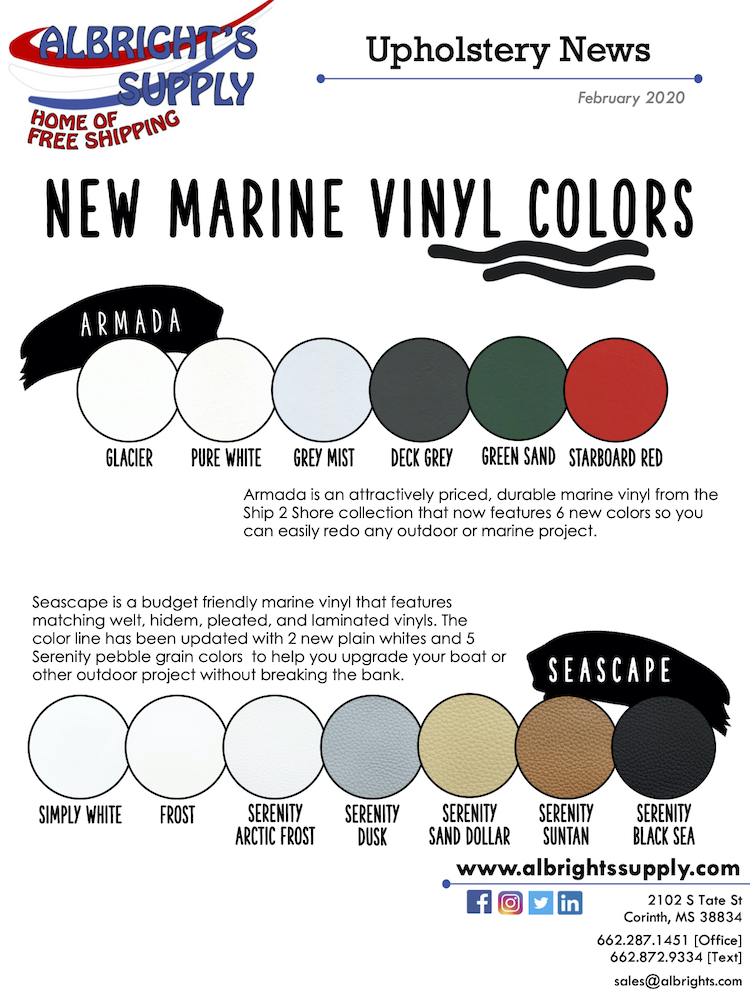 The Hog Ring - Albrights Supply Has New Marine Vinyl Colors