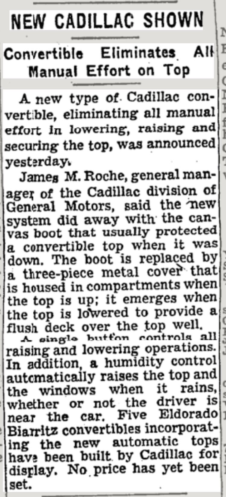 The Hog Ring - Cadillac Automatic Drop Top was a Big Deal